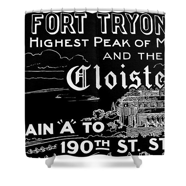 Vintage Cloisters And Fort Tryon Park Poster Shower Curtain
