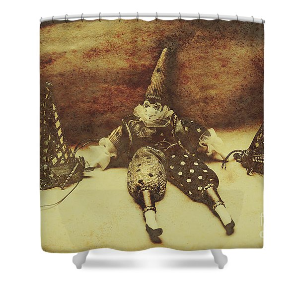 Vintage Clown Doll. Old Parties Shower Curtain