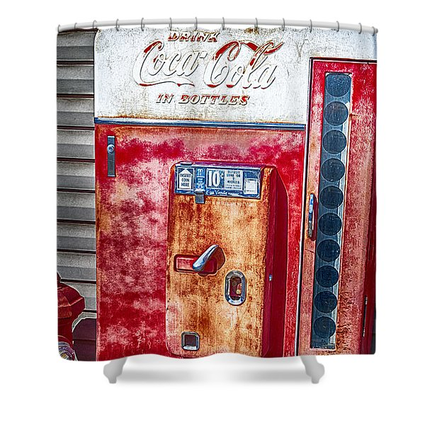 Shower Curtain featuring the photograph Vintage Coca-cola Machine 10 Cents Canvas Print,photographic Print,art Print,framed Print, by David Millenheft