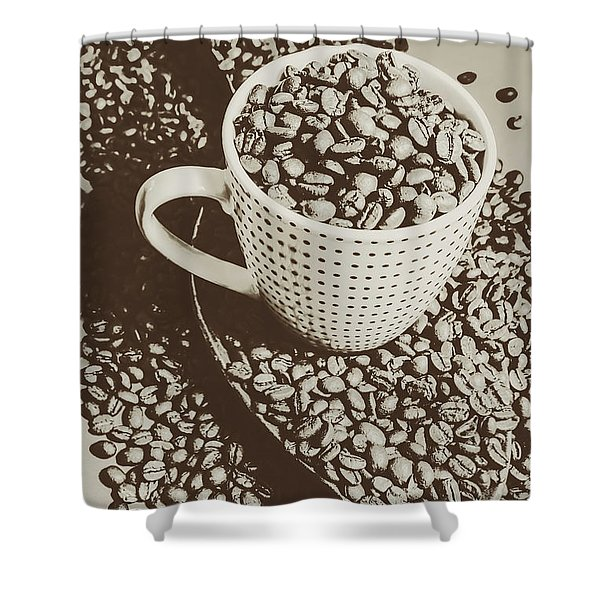 Vintage Coffee Art. Stimulant Shower Curtain
