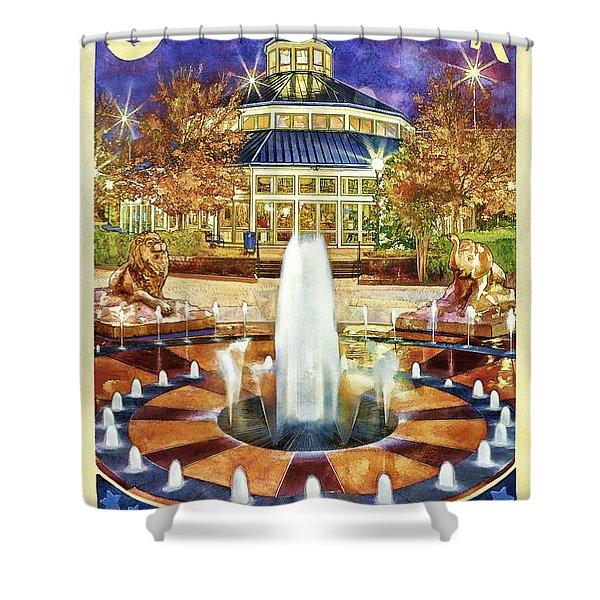 Vintage Coolidge Park Poster Shower Curtain