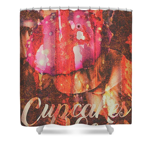 Vintage Cupcake Tin Sign Shower Curtain