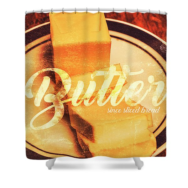 Vintage Dairy Product Advertisement Shower Curtain