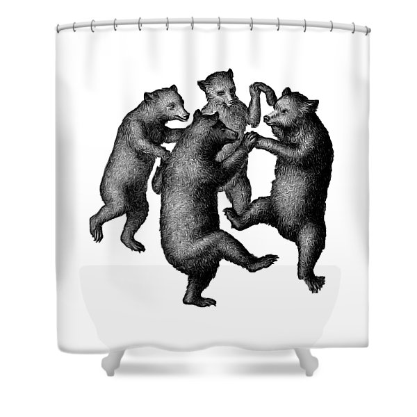 Shower Curtain featuring the drawing Vintage Dancing Bears by Edward Fielding