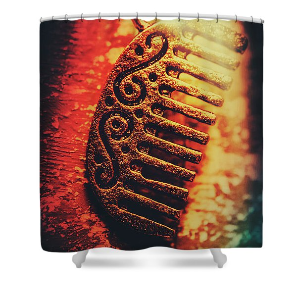 Vintage Egyptian Gold Comb Shower Curtain