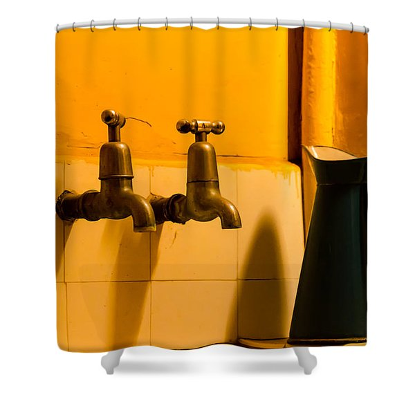Vintage English Tap Water With Watering Can Shower Curtain