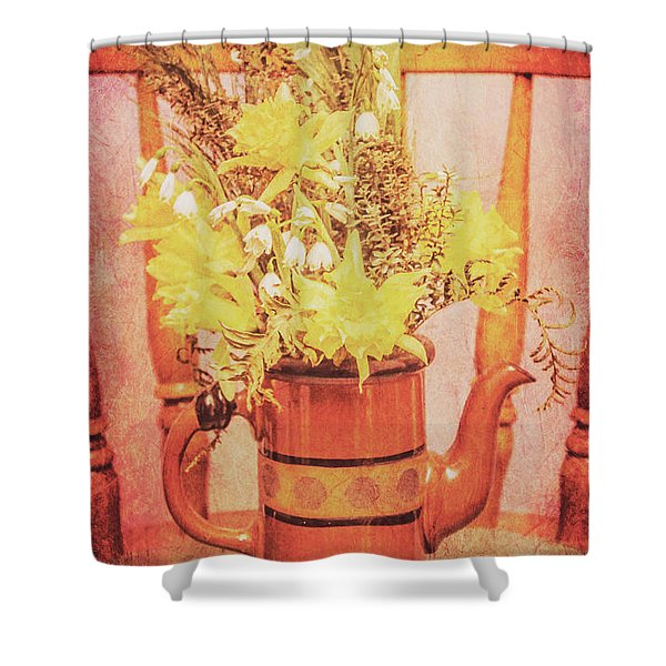Vintage Fine Art Still Life With Daffodils Shower Curtain