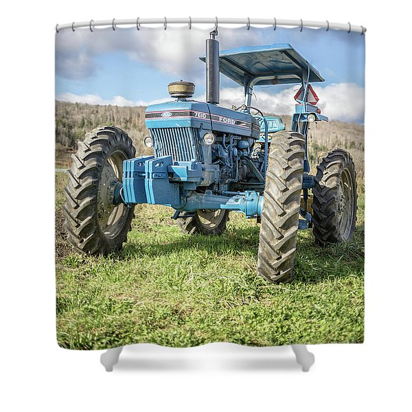 Vintage Ford 7610 Farm Tractor Shower Curtain