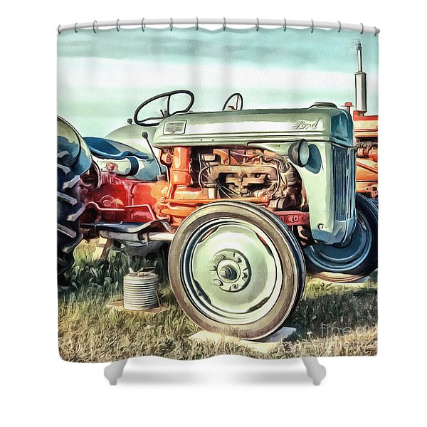 Vintage Ford Tractor Square Shower Curtain