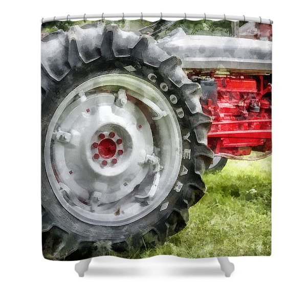 Vintage Ford Tractor Watercolor Shower Curtain