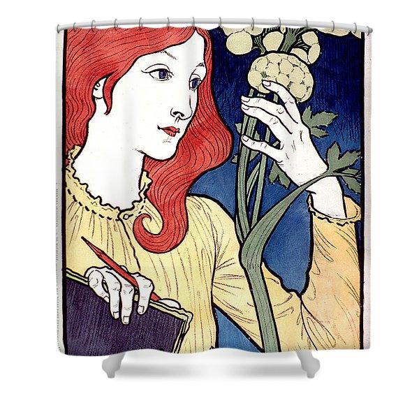 Vintage French Advertising Art Nouveau Salon Des Cent Shower Curtain
