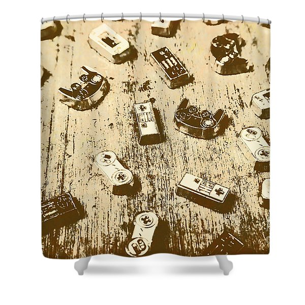 Vintage Gamers Shower Curtain