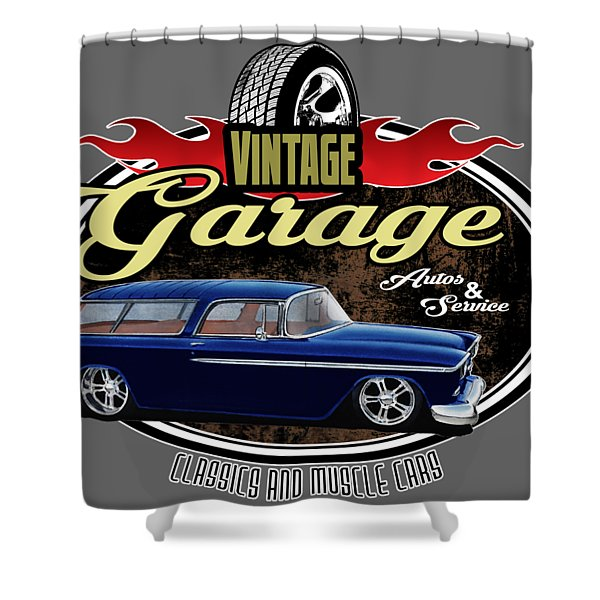 Vintage Garage With Nomad Shower Curtain