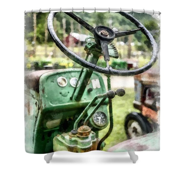 Vintage Green Tractor Steering Wheel Shower Curtain