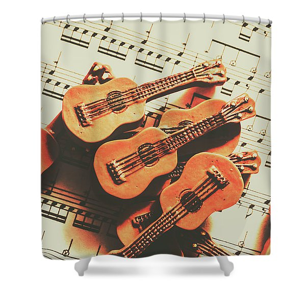Vintage Guitars On Music Sheet Shower Curtain