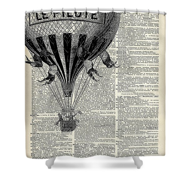Vintage Hot Air Balloon Illustration,antique Dictionary Book Page Design Shower Curtain