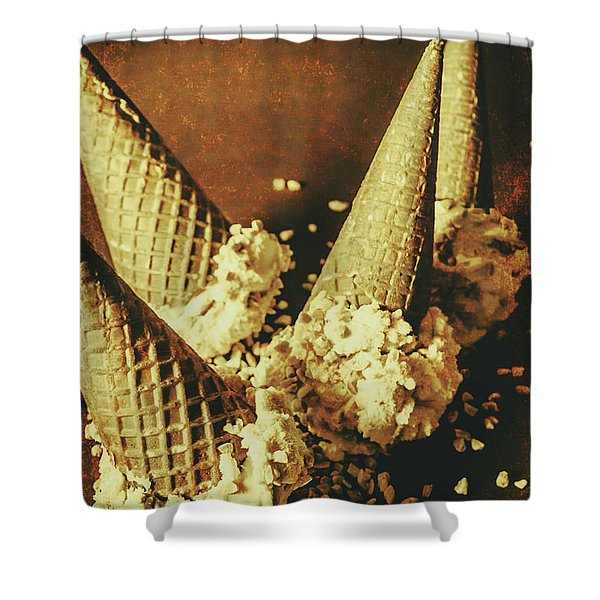 Vintage Ice Cream Cones Still Life Shower Curtain