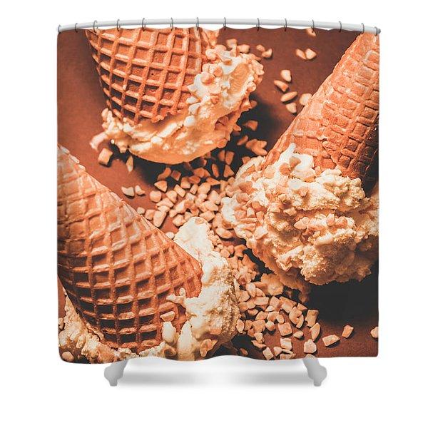 Vintage Ice Cream Shop Art Shower Curtain