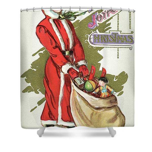 Vintage Illustration Of A Girl In A Santa Claus Suit With A Bag Of Christmas Toys Shower Curtain