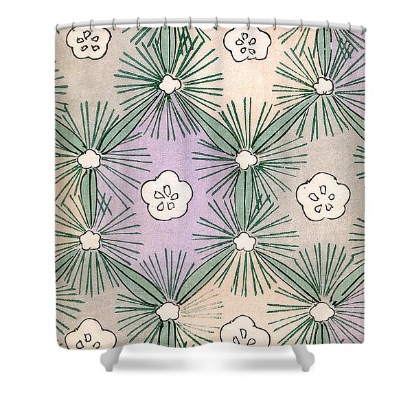 Vintage Japanese Illustration Of Pine Needles And Blossoms Shower Curtain