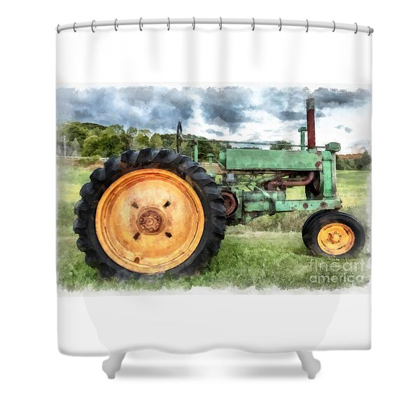 Vintage John Deere Tractor Watercolor Shower Curtain