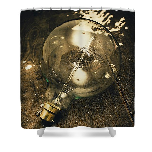 Vintage Light Bulb On Wooden Table Shower Curtain