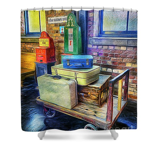 Vintage Luggage Shower Curtain