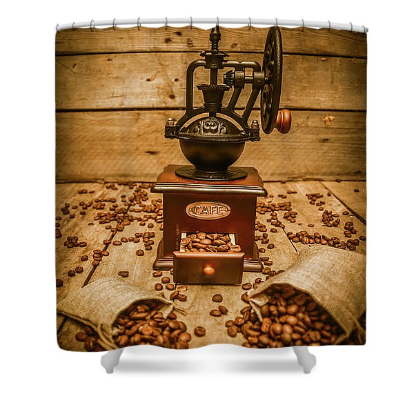 Vintage Manual Grinder And Coffee Beans Shower Curtain