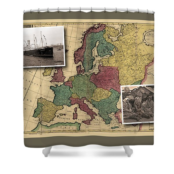 Vintage Map Europe Immigrants Shower Curtain