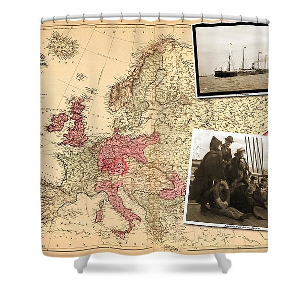 Vintage Map Europe To New York Shower Curtain