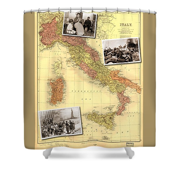 Vintage Map Of Italy Genealogy Map Shower Curtain