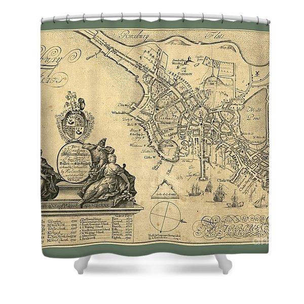Vintage Map Of Roxbury Shower Curtain