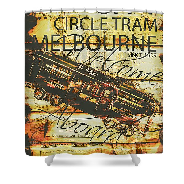 Vintage Melbourne Tram Tin Sign Shower Curtain