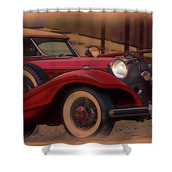 Shower Curtain featuring the digital art Vintage Mercedes by Tristan Armstrong