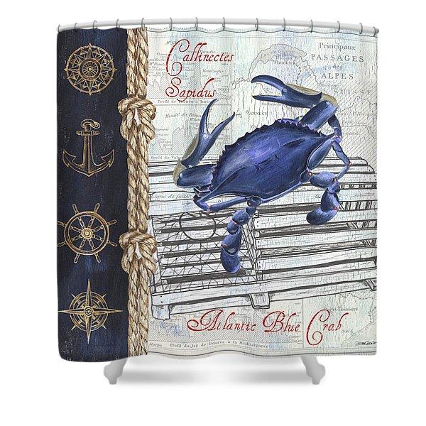 Vintage Nautical Crab Shower Curtain