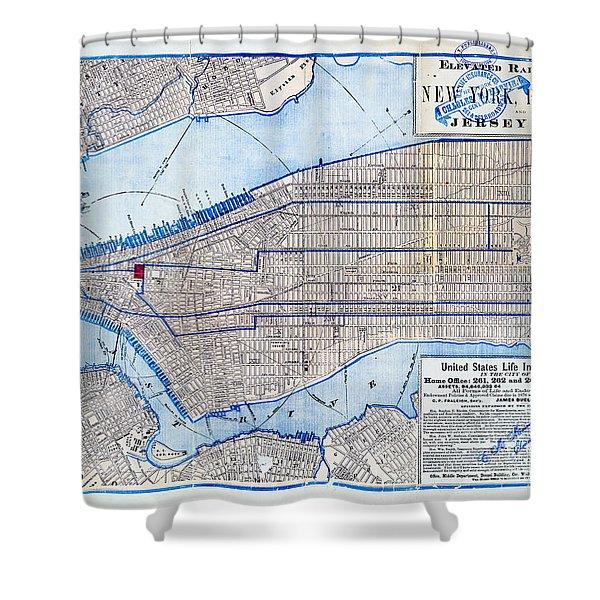 Vintage New York Map Shower Curtain