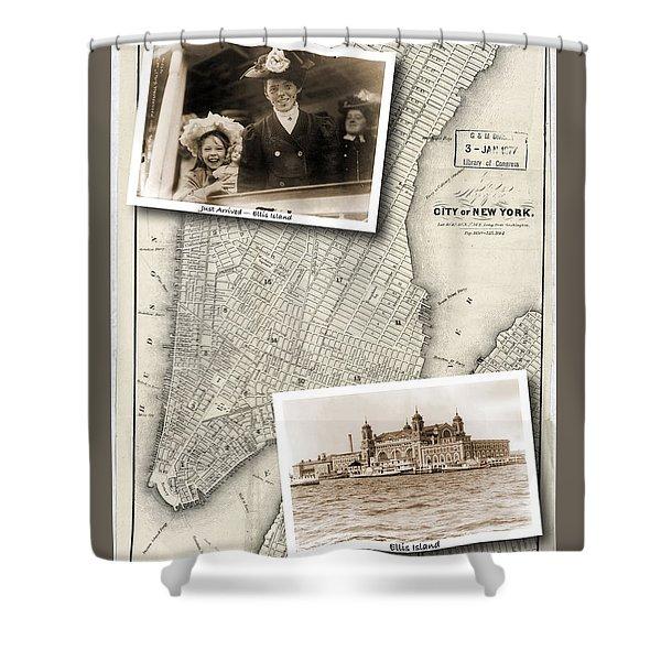 Vintage New York Map With Ellis Island Shower Curtain