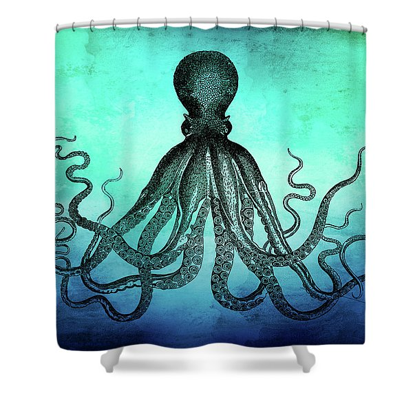 Vintage Octopus On Blue Green Watercolor Shower Curtain