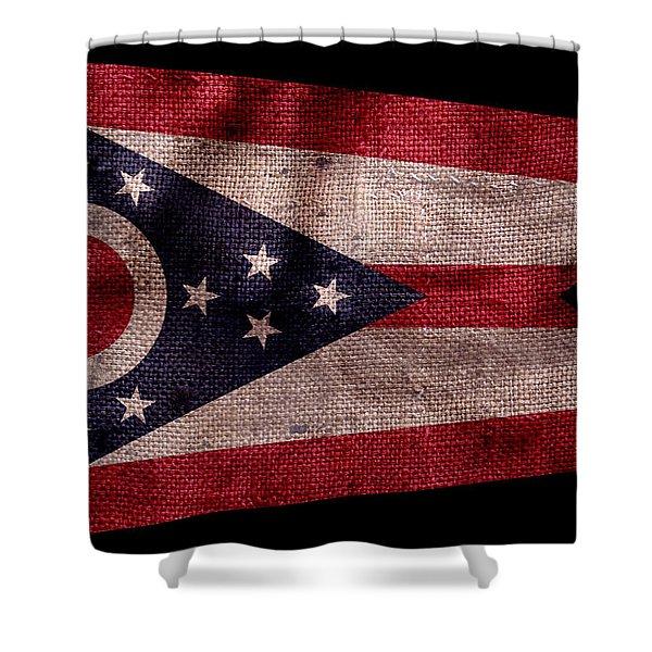 Vintage Ohio Flag On Black Shower Curtain