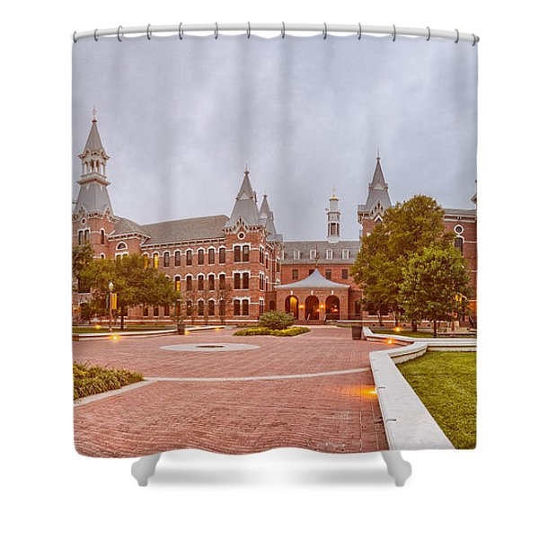 Vintage Panorama Of Burleson Hall At Baylor University - Waco Central Texas Shower Curtain