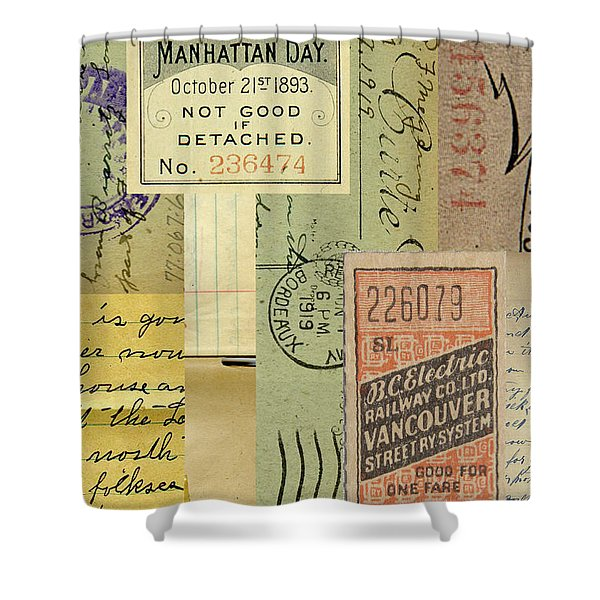 Vintage Paper Collage Shower Curtain