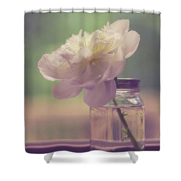 Vintage Peony Flower Still Life Shower Curtain