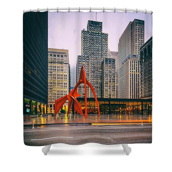 Vintage Photo Of Alexander Calder Flamingo Sculpture Federal Plaza Building - Chicago Illinois  Shower Curtain