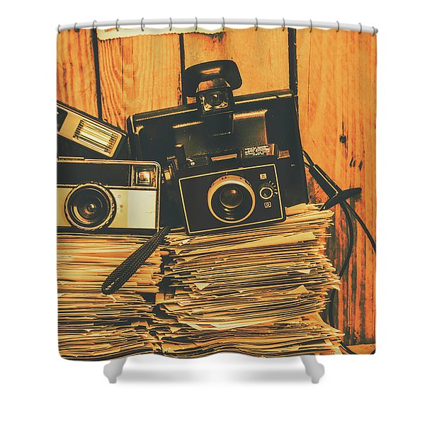Vintage Photography Stack Shower Curtain