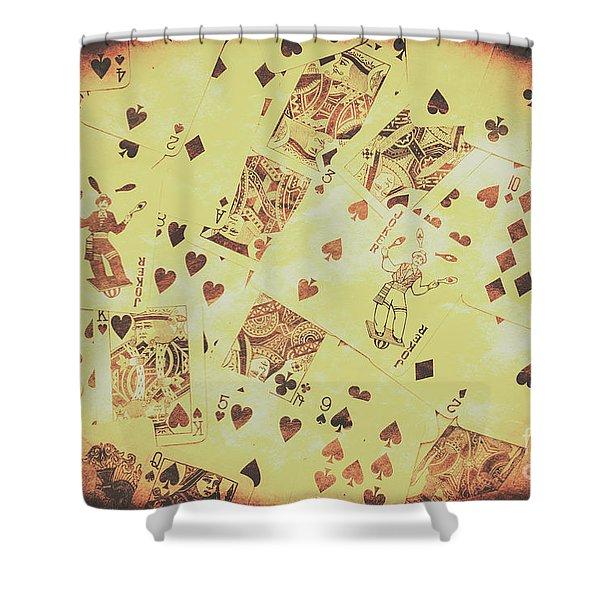 Vintage Poker Card Background Shower Curtain