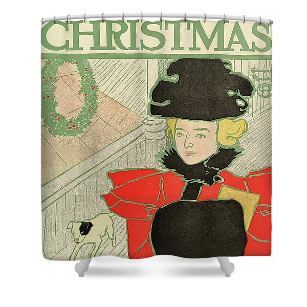 Vintage Poster Advertising Harper's New Monthly Magazine, Christmas 1894 Shower Curtain