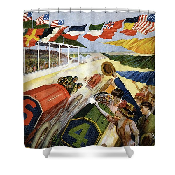 Vintage Poster Advertising The Indianapolis Motor Speedway Shower Curtain