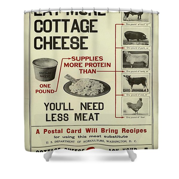 Vintage Poster - Cottage Cheese Shower Curtain
