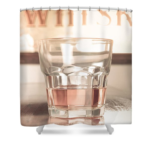 Vintage Pub Whisky On Old Wooden Counter Shower Curtain