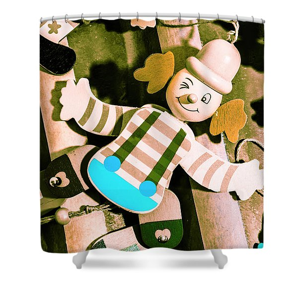 Vintage Pull-string Puppet Carnival Shower Curtain